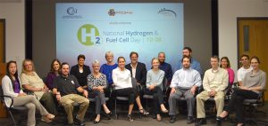 CCAT staff gathers to celebrate National Hydrogen and Fuel Cell Day 2016.